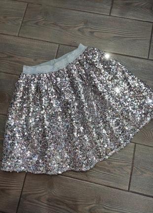 Шикарная юбка в пайетках george 7-8лет в идеальном состоянии