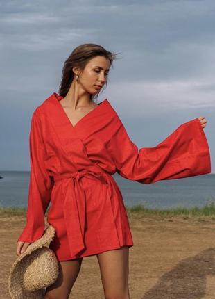 Льняное платье халат лён кимоно платье лен плаття льон плаття халат кімоно