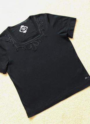 Футболка кофта блуза блузка черная стразы квадратный вырез прямая свободная короткий