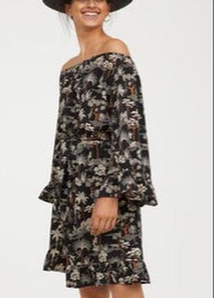 Платье миди с анималистическим принтом h&m