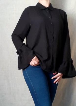 Черная блузка,рубашка из вискозы, красивый рукав разм м-л