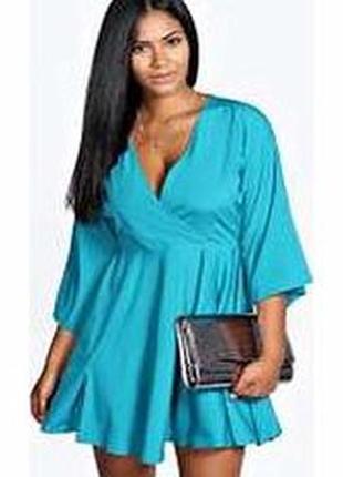 Бирюзовое зелёное новое платье свободное оверсайз кимоно boohoo