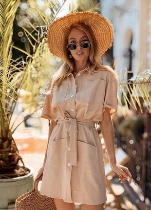 Простое летнее мини платье из качественного льна