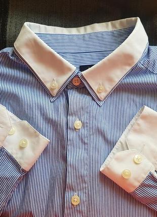 Брендовая базовая рубашка в полоску от h&m размер l