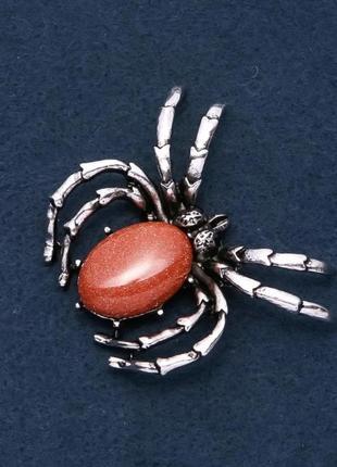 Брошь паук с натуральным камнем авантюрин