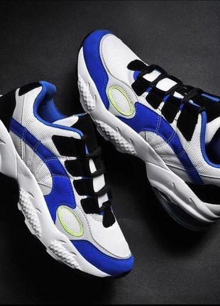 Стильные мужские кроссовки демисезонные синего цвета