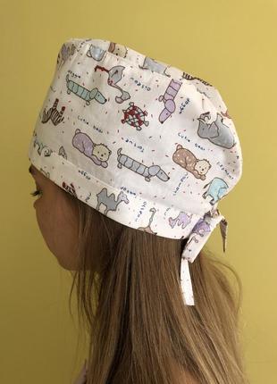 Медицинская шапочка с принтом животные
