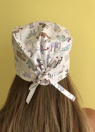 Медицинская шапочка с принтом животные2 фото
