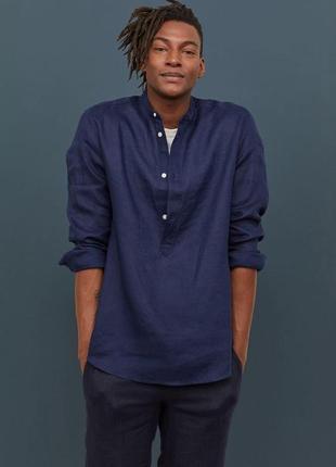 Синяя мужская брендовая льняная рубашка без воротника,h&m, размер м