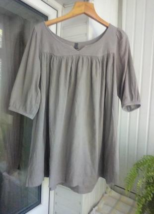 Натуральная коттоновая блуза туника большого размера батал