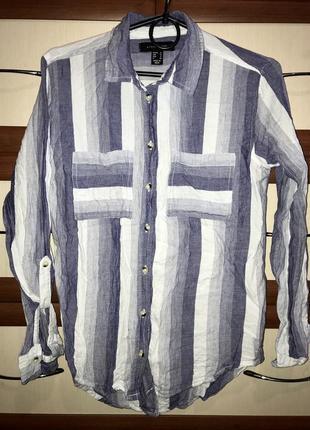 🦕хлопковая рубашка женская в полоску с карманчиком atmosphere маленький размер