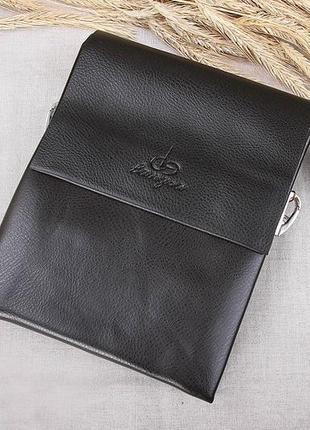 Мужская кожаная сумка классная темно коричневая