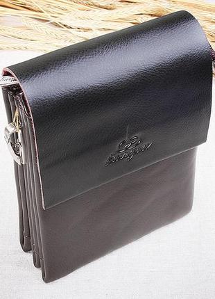Мужская небольшая сумка через плечо темно коричневая