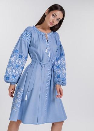 Платье-вышиванка расклешенное от талии с геометрией