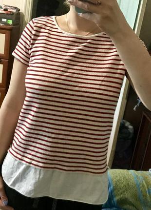🐓стильная футболка блузка в полоску 💯 % хлопок m&s 14рр