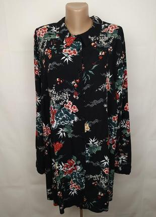 Блуза шикарная натуральная цветочная штапель большого размера evans uk 28