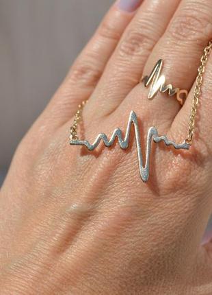Комплект, набір, позолота, медзолото, ланцюжок, каблучка серцебиття, біжутерія xuping
