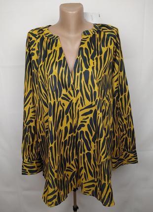 Блуза новая красивая хлопковая тонкая зебра next uk 18/46/xxl
