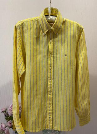 Мужская льняная рубашка tommy hilfiger