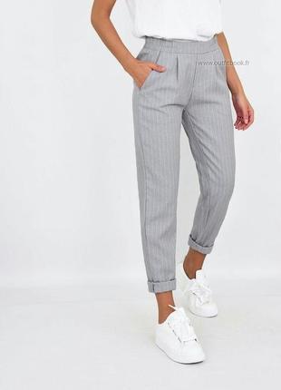Cтильные базовые серые брюки в полоску джогеры bershka