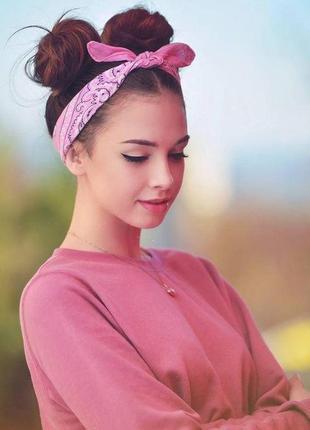 Розовая бандана, новая, летний аксессуар для волос, шеи, головы, платок