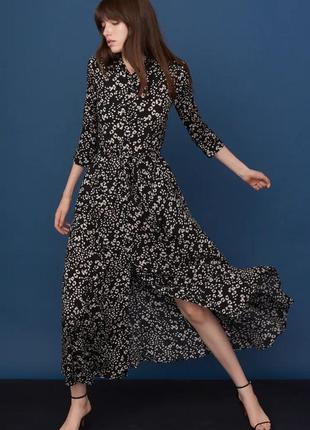 Платье макси вискоза длинное zara новое принт леопард в черно-белых тонах