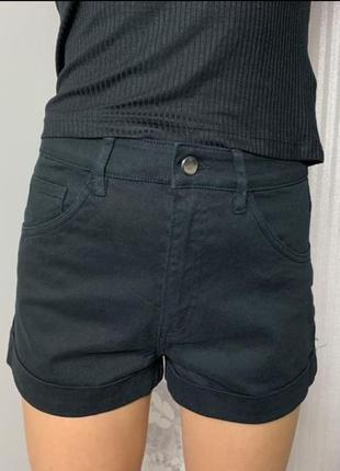 Шорты джинсовые черные с подворотом h&m