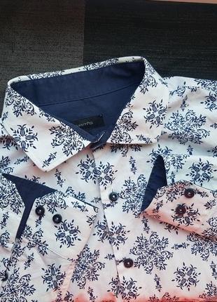 Брендовая модная коттоновая белая приталеная рубашка sam's с орнаментом рисунком узором