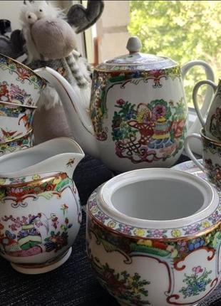 Скидка китайский чайный сервиз ручной работы на 6 персон винтаж китай