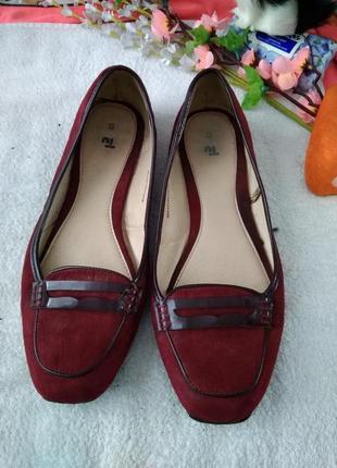 Бордовые туфли балетки на широкую ногу tu раз.40 (26.5 см)