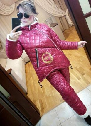 Зимний бордовый женский костюм на овчине