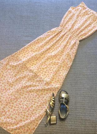 Платье сарафан в анималистический принт длинное в пол шикарное с разрезами по бокам
