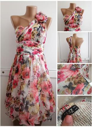 Платье розовое красное белое