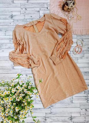 Золотое вечернее платье миди с длинным рукавом блестящее с люрексом люрекс