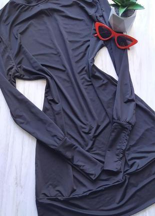 Шикарное черное платье по фигуре с открытой спиной 😍