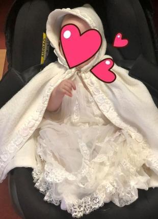 Крестильный набор для близнецов,двойни.платья и накидки.