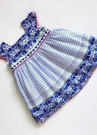 Нарядное коттоновое сине -белое платьице с подкладкой