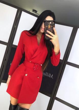 Платье пиджак с пуговицами и поясом 37