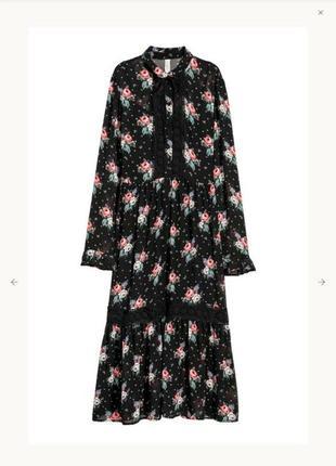 Шикарное шифоновое платье 👗 в цветочный принт h&m 40/10