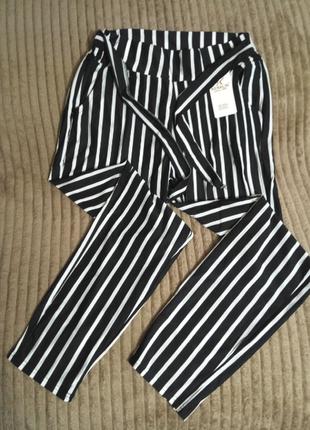 Летние тонкие повседневные брюки в полоску