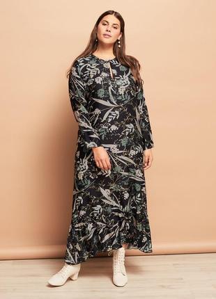 Натуральное летящее платье бохо большой размер/52-54-56-58