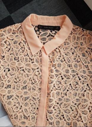 Скидка брендовая кружевная  блуза блузка рубашка кофта персикового цвета zara