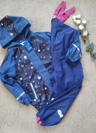Деми комплект дождевик полукомбинезон и куртка флис lupilu 122-128см грязепруф