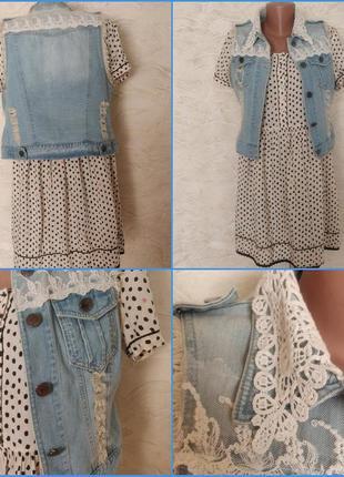 Джинсовая жилетка жилет рваный дырки под платье и джинсы кружево вышивка