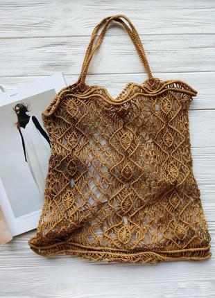 Соломенная коричневая бежевая плетенная сумка сумочка винтажная авоська сетка пляжная