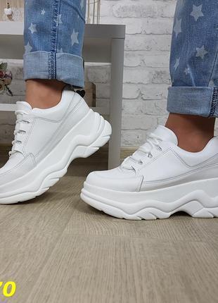 Кроссовки на высокой платформе буффало белые