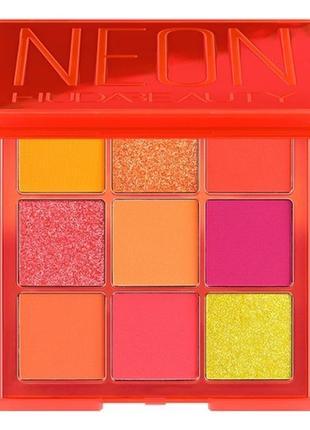 Палетка теней huda beauty neon orange obsessions 9 оттенков