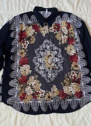 Винтажная натуральная блузка большой размер