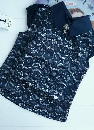 Кружевная блузка безрукавка для школы  нарядная