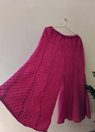 Широкие штаны кюлоты розовые